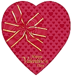 Heart Box, Red Foil Bow, 1 lb., QTY/CASE-12
