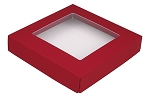 Folding Carton, This Top - That Bottom, Window Lid, 8 oz., Square, Red, QTY/CASE-50