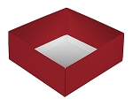 Folding Carton, This Top - That Bottom, Base, 8 oz., Square, Red, Double-Layer, QTY/CASE-50