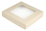 Folding Carton, This Top - That Bottom Window Lid, 8 oz., Square, Pearlescent, QTY/CASE-50
