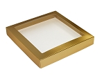 Folding Carton, This Top - That Bottom, Window Lid, 16 oz., Square, Metallic Gold, QTY/CASE-50