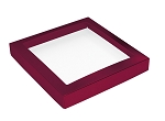 Folding Carton, This Top - That Bottom, Window Lid, 16 oz., Square, Metallic Red, QTY/CASE-50