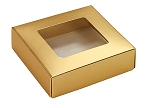 Folding Carton, This Top - That Bottom, Window Lid, 3 oz., Petite, Square, Metallic Gold, QTY/CASE-50