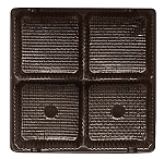 Tray, Square, Brown, 3 oz., 4 Cavity, QTY/CASE-50