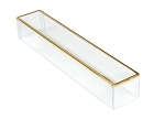 Rigid Set-up Box, Plastic Box with Gold trim, Rectangle, Clear, 7 1/4 x 1 1/4 x 1 1/8, QTY/CASE-5