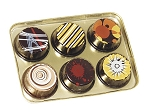 Tray, Artisan Series Gold Tray with Clear Lid, Rectangle, 6 Cavity, QTY/CASE-50