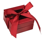 Rigid Set-up Box, Window Box with Ribbon, Square, Red, 3 oz., QTY/CASE-