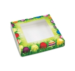 Folding Carton, Window Lid, 8 oz., Square, Easter Meadow, QTY/Case-50