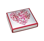 Folding Carton, Lid, 8 oz., Square, Silver Heart Swirl Box, QTY/CASE-50