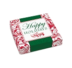 Folding Carton, Lid, 8 oz., Square, Happy Holidays, QTY/CASE-50