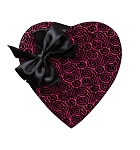 Heart Box, Wind Swirl, Bow, Pink and Black, 8 oz., QTY/CASE-12