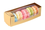 Folding Carton, Macaron Window Box, 5-Piece, Rectangle, Metallic Gold, QTY/CASE-50