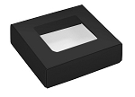 Folding Carton, This Top - That Bottom, Window Lid, 3 oz., Petite, Square, Black, QTY/CASE-50