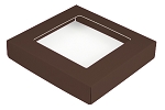 Folding Carton, This Top - That Bottom, Window Lid, 8 oz., Square, Chocolate, QTY/CASE-50