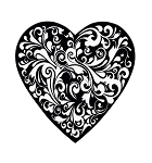 Heart Box, Black Swirl, 8 oz., QTY/CASE-24