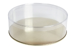 Clear Plastic Packaging, Round, Gold Base, 7 x 2-1/4, 2 lb., QTY/CASE-50
