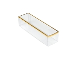 Clear Plastic Packaging, Rectangle, Gold Trim, 4-3/4 x 1-1/4 x 1-1/8, QTY/CASE-50