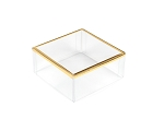 Clear Plastic Packaging, Square, Gold Trim, 3 x 3 x 1-3/8, QTY/CASE-50