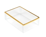 Clear Plastic Packaging, Rectangle, Gold Trim, 4-1/2 x 3 x 1-3/8, QTY/CASE-50
