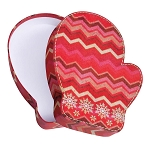 Rigid Set-up Box, Red Snowflake Chevron Mitten Box, QTY/CASE-12