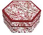 Rigid Set-up Box, Hexagon, 2-Tier, Red Swirl, QTY/CASE-12