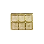 Tray, Rectangle, Gold, 4 oz., 6 Cavity, QTY/CASE-50