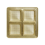 Tray, Square, Gold, 8 oz., 4 Cavity, QTY/CASE-50
