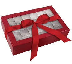 Rigid Set-up Box, Window Box with Ribbon, Rectangle, 16 oz., 5th Ave. Red, QTY/CASE-12