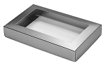Folding Carton, This Top - That Bottom, Window Lid, 8 oz., Rectangle, Metallic Silver, QTY/CASE-50