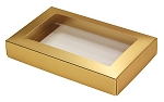 Folding Carton, This Top - That Bottom, Window Lid, 8 oz., Rectangle, Metallic Gold, QTY/CASE-50
