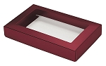 Folding Carton, This Top - That Bottom, Window Lid, 8 oz., Rectangle, Metallic Red, QTY/CASE-50
