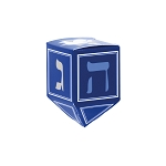 Folding Carton, Traditional Dreidel Box, Blue, White, and Silver, QTY/CASE-50