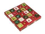 Folding Carton, 1-Piece, Square, Single-Layer, Holiday Surprise Advent Calendar, QTY/CASE-50