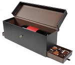 Rigid Set-up Box, Wine and Champagne Chocolate Leather Gift Box, Faux Leather, Dark Brown, QTY/CASE-6