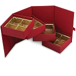 Rigid Set-up Box, Cube, 4-Tier, Petite, Red Velvet, QTY/CASE-12