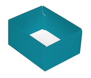 Folding Carton, CLOSEOUT, This Top - That Bottom, Base, 4 oz., Rectangle, Teal, Double-Layer, QTY/CASE-50