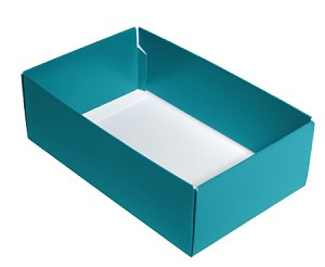 Folding Carton, CLOSEOUT, This Top - That Bottom, Base, 8 oz., Rectangle, Teal, Double-Layer, QTY/CASE-50