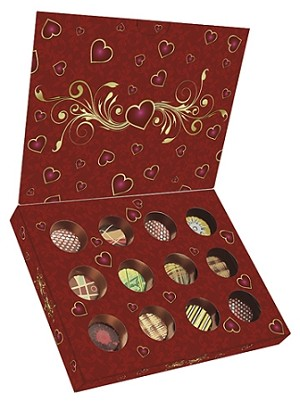 Folding Carton, CLOSEOUT, Artisan Series Box with Flip Lid, 12-Piece, Red Valentine, QTY/CASE-50