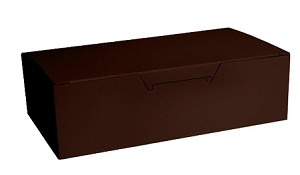 Folding Carton, CLOSEOUT, Fudge Box with Lid, 1.5 lb., Rectangle, Chocolate Brown, QTY/CASE-50