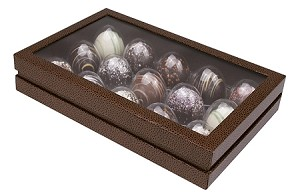 Rigid Set-up Box, CLOSEOUT, Truffle Box with Hinged Lid, 15-Piece, Brown, QTY/CASE-12