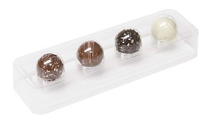 Tray, Truffle, Rectangle, Bite-Size, Clear, 4 Cavity, QTY/CASE-50