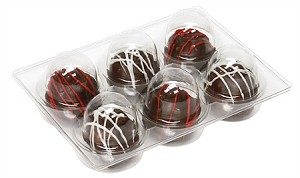 Tray, Cakeball Tray with Clear Lid, Rectangle, 6 Cavity, QTY/CASE-50