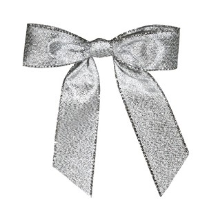 "Pre-Tied Bows with Twist Ties, CLOSEOUT, 4"", Metallic Silver, QTY/CASE-100"