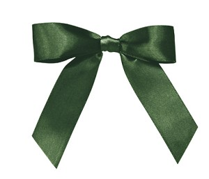 Pre-Tied Bows with Twist Ties, Emerald Green, QTY/CASE-100