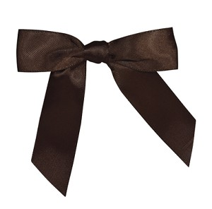 "Pre-Tied Bows with Twist Ties, CLOSEOUT, 4"", Chocolate Brown, QTY/CASE-100"