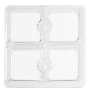 Tray Guard, Square, Clear, 3 oz., 4 Cavity, QTY/CASE-50