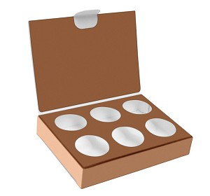 Folding Carton, CLOSEOUT, Artisan Series Box with Flip Lid, 6-Piece, Copper, QTY/CASE-50