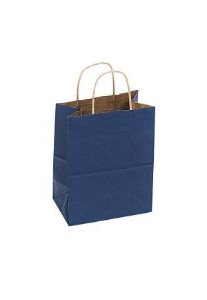 Kraft Bag, Navy Blue Natural, 8 in.x 4.75 in.x 10.25 in., QTY/CASE-250