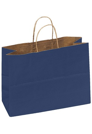 Kraft Bag, Navy Blue Natural, 16 in.x 6 in.x 12 in., QTY/CASE-250