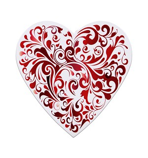 Heart Box, Red Swirl, 8 oz., QTY/CASE-24